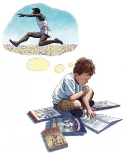 boy reading and dreaming about running and racing