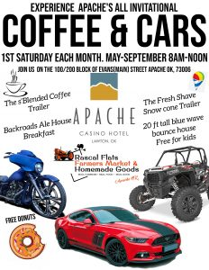flyer for coffee and cars in Apache